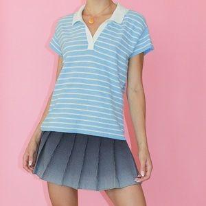 VINTAGE Cornflower/White Striped Knit Polo Top - L